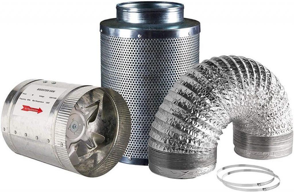 "Hydro Crunch 4 inch 100 CFM Booster Fan & 4"" x 12"" Carbon Filter"
