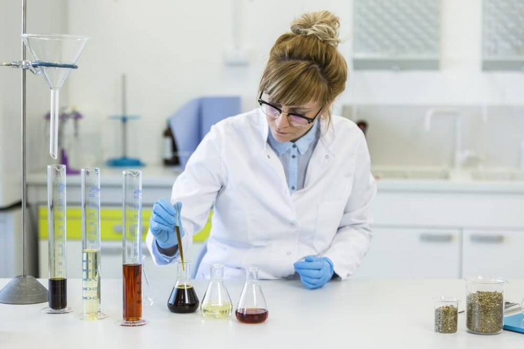 Female chemical scientist wearing glasses works with hemp CBD and CBDa oils in laboratory. She uses latex gloves, glass tubes and erlenmeyer flasks. Healthcare pharmacy from cannabis seeds
