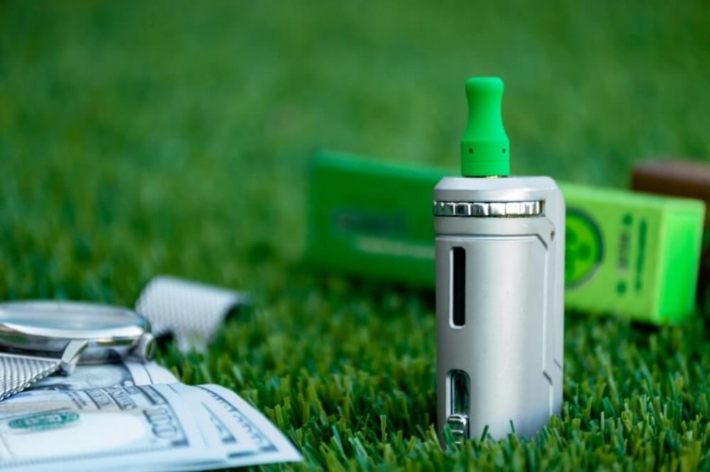 Closeup shot of a rechargeable vaping device
