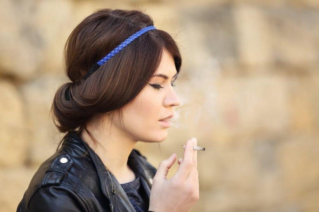 Woman smoking weed