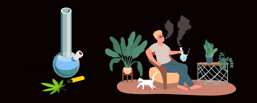 Man sitting on the couch smoking cannabis
