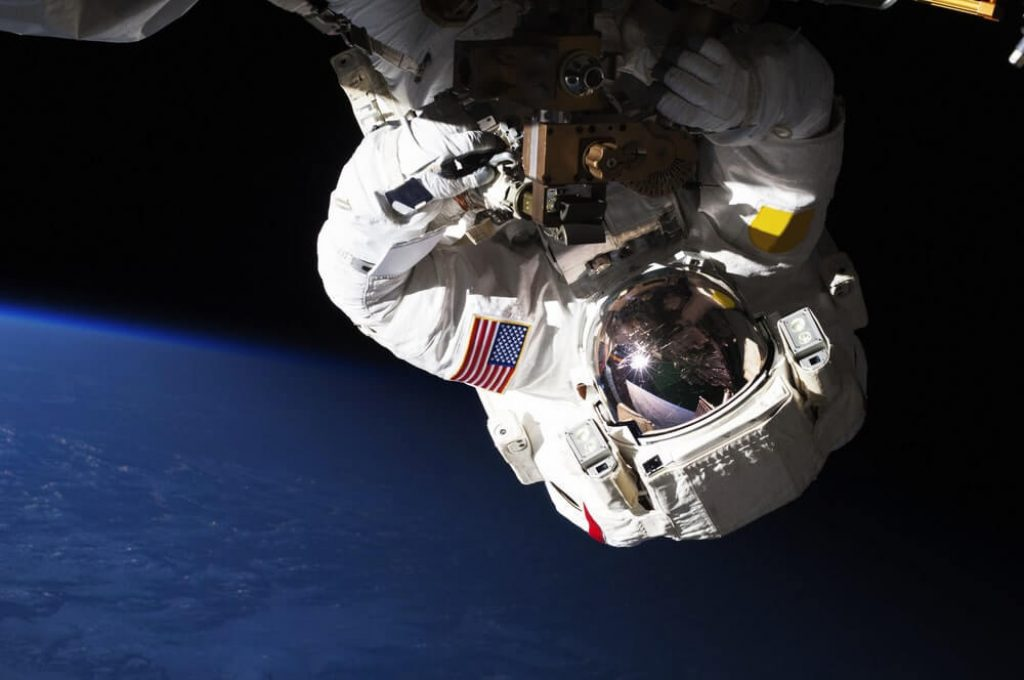 NASA astronauts in space